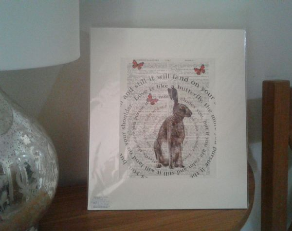 Hare print on an old page